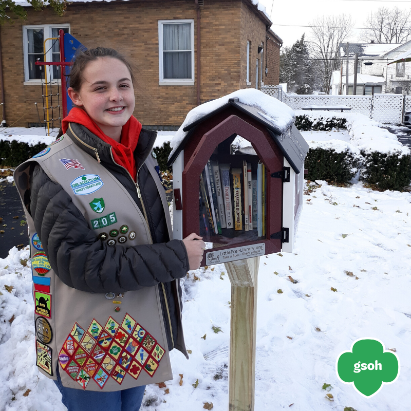 Lillian with Little Library